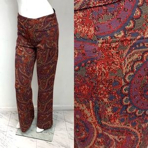 Free People Red Tapestry Flare Pants